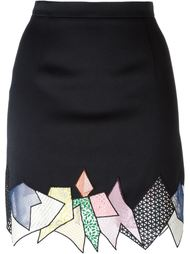 юбка мини с панелью в стиле пэчворк  Christopher Kane
