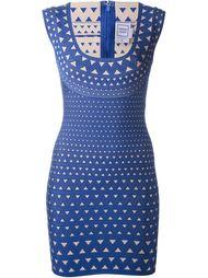 облегающее платье с глубоким вырезом Hervé Léger