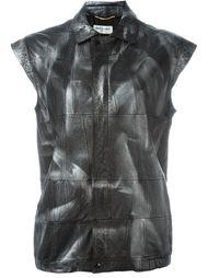 кожаная куртка без рукавов Saint Laurent