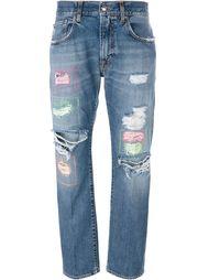 джинсы бойфренда с потертой отделкой +People