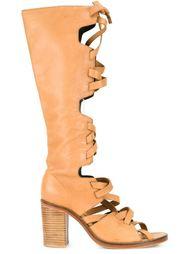 сапоги с открытым носком и шнуровкой Kitx