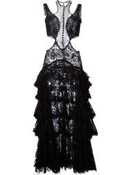 кружевное вечернее платье с рюшами Alexander McQueen