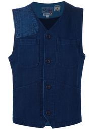 patch pocket vest Blue Blue Japan