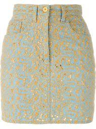 джинсовая юбка с цветочной вышивкой Moschino Vintage