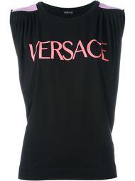 logo print tank top Versace