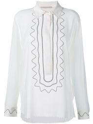 Embroidered Silk Long Sleeve Shirt Christopher Kane