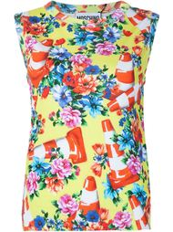 floral and traffic cone shell top Moschino