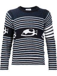 striped fish intarsia jumper Thom Browne