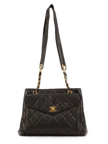 стеганая сумка-тоут с логотипом 'CC' Chanel Vintage