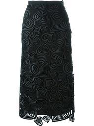 юбка средней длины с узором из сердец Christopher Kane