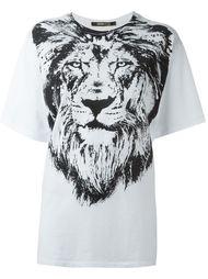 футболка с принтом льва Roberto Cavalli