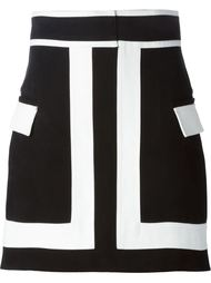 А-образная контрастная  юбка  Balmain