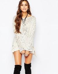 Ажурный свитер с отделкой кроше Free People Pretty - Слоновая кость