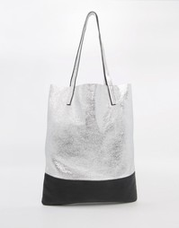 Сумка-шоппер цвета металлик Street Level - Серебряный