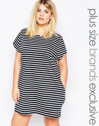 Цельнокройное платье-футболка в полоску размера плюс Missguided