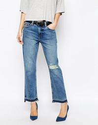 Укороченные джинсы бойфренда с классической талией Weekday Ami - Синий