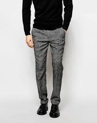 Зауженные брюки из крапчатой черно-белой ткани ASOS