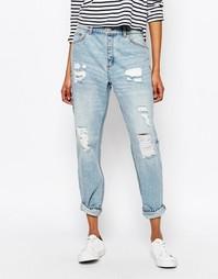 Выбеленные тертые джинсы бойфренда Monki - С эффектом износа