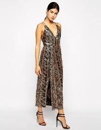 Платье-сорочка с разрезом до бедра VLabel London Berkley - Металлик