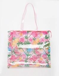 Вместительная пляжная сумка с принтом Carpisa - Pink multi