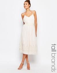 Короткое приталенное платье миди Little Mistress Tall - Телесный