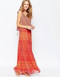 Шелковое платье макси с принтом и юбкой-абажуром Gypsy 05