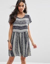 Свободное платье с принтом Brave Soul - Темно-синий