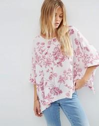 Свободная футболка-кимоно с цветочным принтом ASOS - Мульти