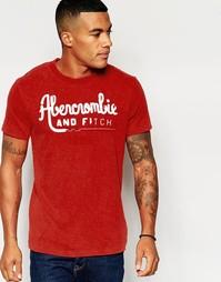Облегающая оранжевая футболка с принтом Abercrombie & Fitch