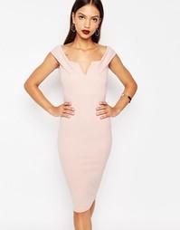 Облегающее платье c приспущенными плечами Boohoo - Розовый
