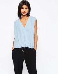 Блузка без рукавов с драпированным запахом ASOS - Синий