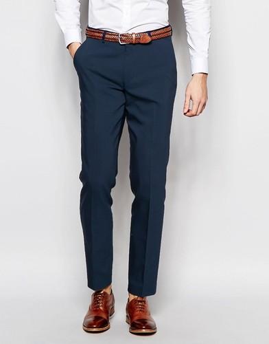 Зауженные брюки с контрастной отделкой ASOS - Темно-синий