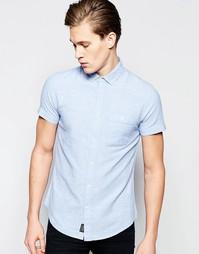 Рубашка из хлопка и льна с короткими рукавами Threadbare - Синий