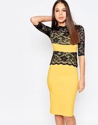 Платье-футляр с кружевными вставками Vesper Esme - Желтый