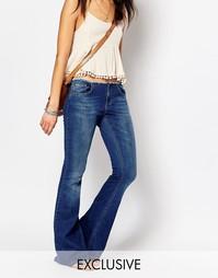 Расклешенные джинсы с необработанным поясом Northmore - Синий