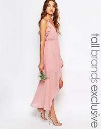 Платье-сорочка с запахом и оборками True Decadence Tall - Розовый
