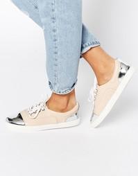 Бежевые кроссовки со шнуровкой и вставкой на носке Lost Ink Suri