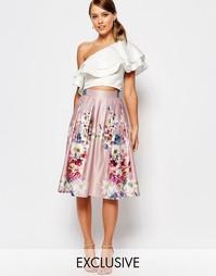Атласная юбка миди с цветочным принтом True Violet