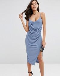 Креповое платье-сорочка миди с запахом ASOS - Сумеречный голубой