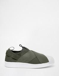 Кроссовки-слипоны цвета хаки adidas Originals Superstar - Зеленый