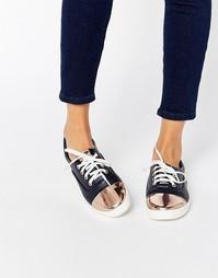 Темно-синие кеды на шнуровке с контрастным носком Lost Ink Suri