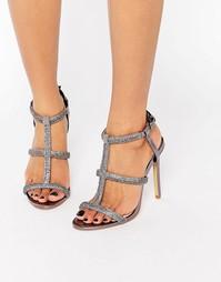 Босоножки на каблуке цвета металлик с отделкой Faith Laroux - Металлик
