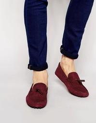 Туфли с эффектом змеиной кожи для вождения ASOS - Burgundy