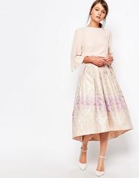 Пышная жаккардовая юбка Closet - Светлый разноцветный жаккард