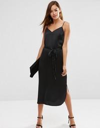 Платье-сорочка миди с поясом ASOS - Черный