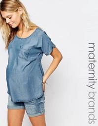 Джинсовый топ для беременных с карманом Mamalicious - Синий Mama.Licious