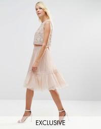 Тюлевая юбка с кружевом Needle & Thread - Rose beige