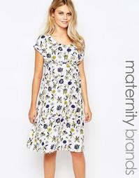 Короткое приталенное платье для беременных с цветочным принтом Mamalic Mama.Licious