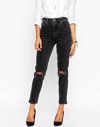 Черные выбеленные джинсы слим в винтажном стиле с рваной отделкой ASOS