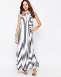 Трикотажное платье макси в вертикальную полоску Seafolly - Темно-синий